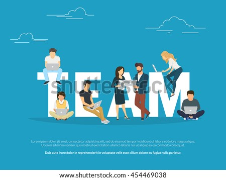 Project teamwork concept illustration of business people working together as team. Manager, designer, programmer and other colleagues using laptops. Flat design for for website banner and landing page - stock vector