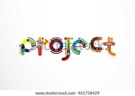 Project Word Letter Banner Thin Line Stock Vector 461758429 ...