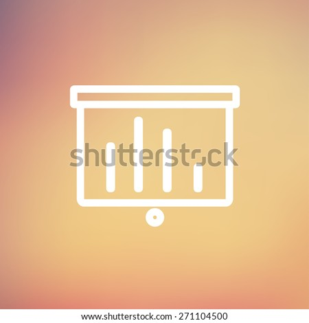 Projector roller screen icon thin line for web and mobile, modern minimalistic flat design. Vector white icon on gradient mesh background. - stock vector