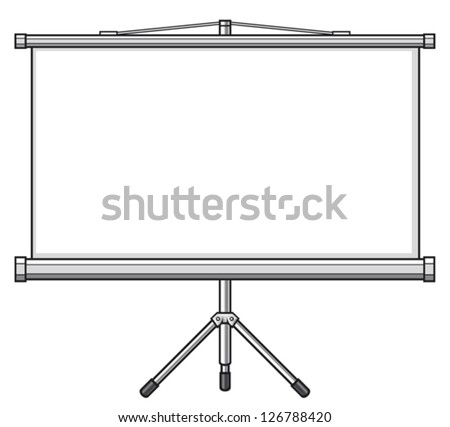 projector screen (empty white projector screen, blank presentation or projector roller screen) - stock vector