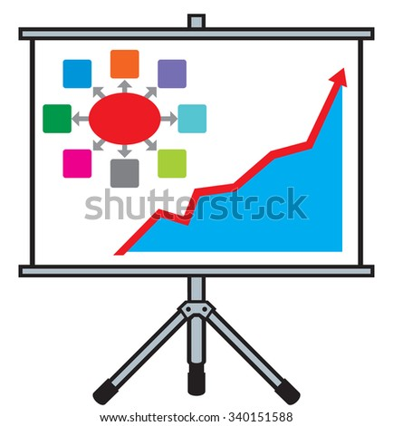 projector screen with business graph (business presentation concept) - stock vector