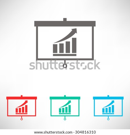 Projector screen with graph. Set of varicolored icons. - stock vector