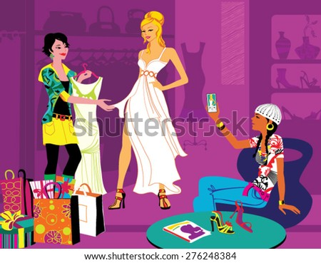 prom dress shopping girl - stock vector