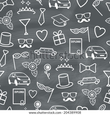 Prom Seamless Texture with Carnival Objects. Vector Chalk Pattern - stock vector