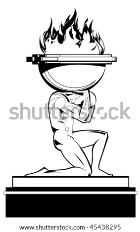 Prometheus carrying fire - stock vector