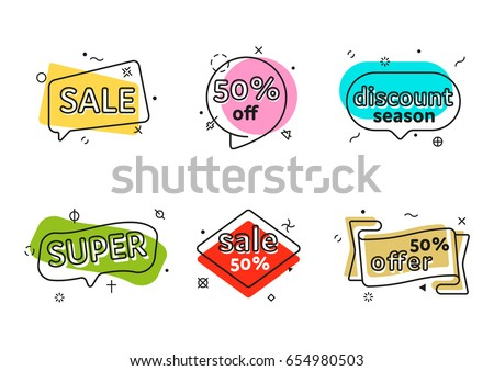 Promo banner geometric vector bubbles. Special offer sale red tag isolated vector trendy flat style. Discount offer price label, symbol for advertising campaign in retail, sale promo marketing.