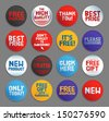 Promo stickers and buttons. EPS10. - stock