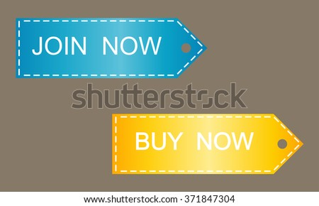 Promo stickers and buttons. Join now, Buy now. - stock vector