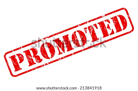 Promoted red stamp text on white - stock vector