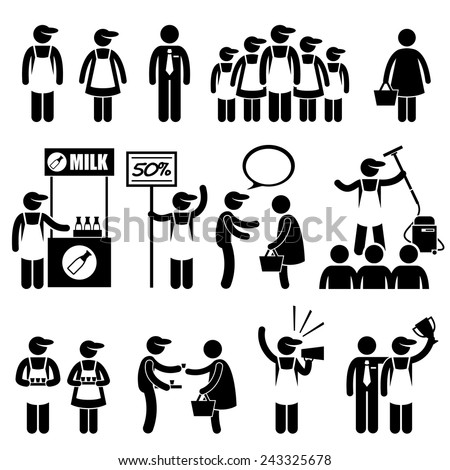 Promoter Salesman Customers at Shopping Mall Stick Figure Pictogram Icons - stock vector