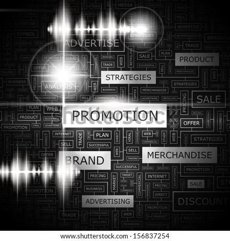 PROMOTION. Background concept wordcloud illustration. Print concept word cloud. Graphic collage with related tags and terms. Vector illustration.