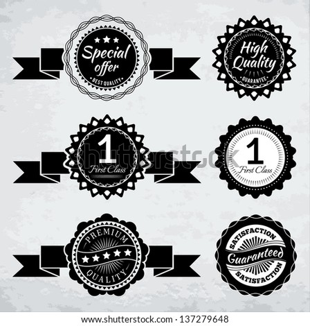 Promotion badges in black and white. EPS10. - stock vector