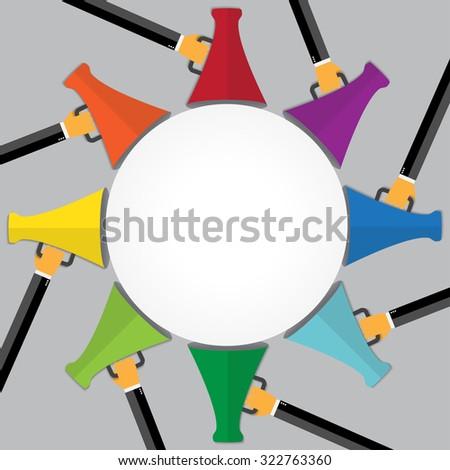 Promotion concept. Loudspeaker for website banners flat design. - stock vector