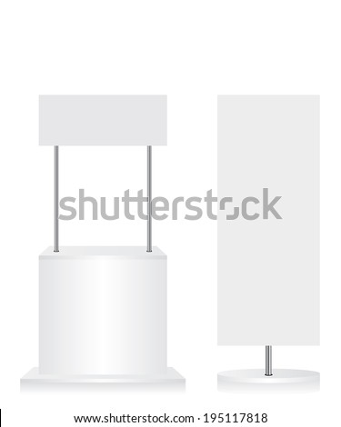 Promotion counter and flag on white background - stock vector