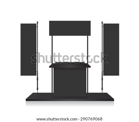Promotion counter black and blank flag - stock vector