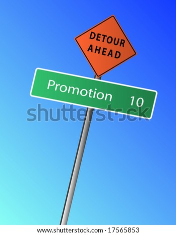Promotion 10 miles (km) ahead, with a Detour Ahead Sign - stock vector