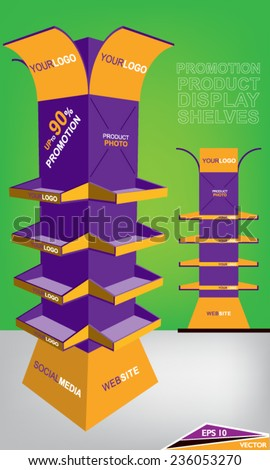 Promotion Product Display Shelves - stock vector