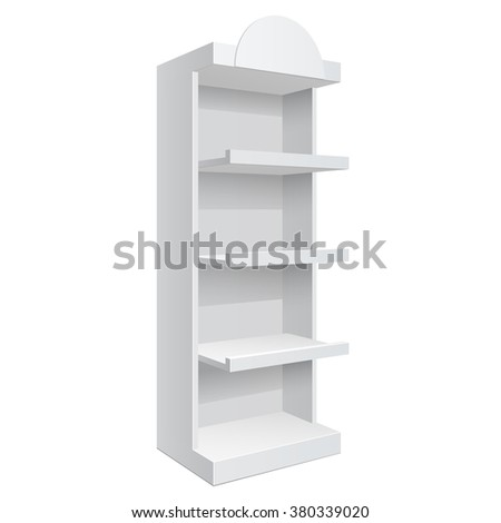 Promotion shelf. Retail Trade Stand Isolated on a white background. Slender white shelves. Mock Up Template. Vector illustration. - stock vector