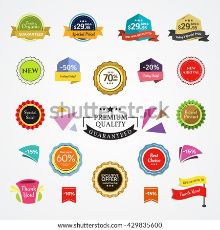 Promotional Badges and Sale Tags. Promotional badges and sale tags for your designs, such us for online shop, newsletter or email marketing, advertising, etc. - stock vector