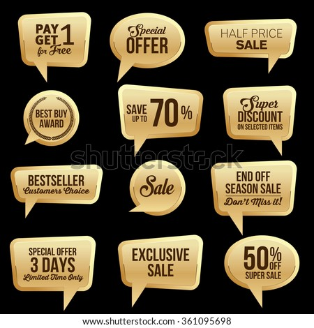 Promotional Gold Web Sale Stickers Collection.  - stock vector