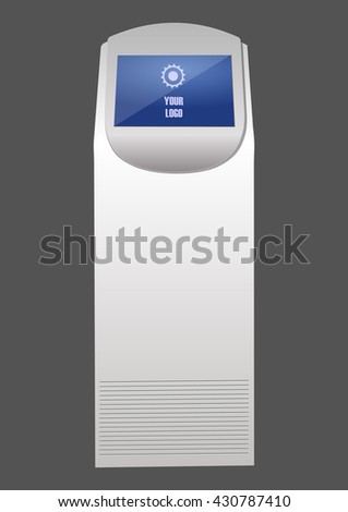 Promotional Interactive Information Kiosk Terminal Stand Touch Screen Display,  for indoor and outdoor use. - stock vector