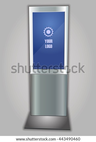 Promotional Interactive Information Kiosk Terminal Stand Touch Screen Display. Mock Up Template. - stock vector