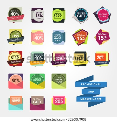 Promotional & Marketing Set. Contains badges and other elements for your designs, such us for online shop, newsletter or email marketing, advertising, etc. Easy to change colors and texts. - stock vector