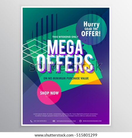 Promotional Mega Sale Brochure Flyer Template Stock Vector - Pricing flyer template