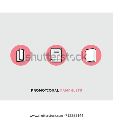 promotional pamphlets flat illustration set line stock vector