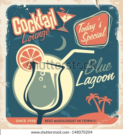 Promotional retro poster design for one of the most popular cocktails Blue Lagoon. Vintage cocktail bar design with special daily offer. Food and drink concept on scratched old textured paper. - stock vector