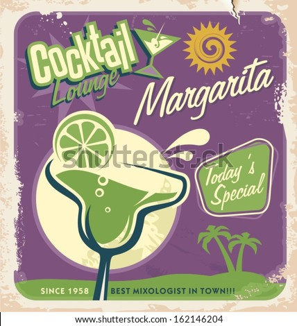 Promotional retro poster design for one of the most popular cocktails Margarita. Vintage cocktail bar design with special daily offer. Food and drink concept on scratched old textured paper.  - stock vector
