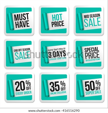 Promotional Sale Stickers Collection. Scroll Paper.