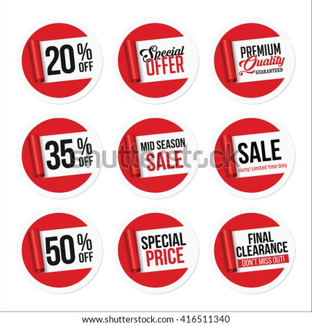Promotional Sale Stickers Collection. Torn Paper. - stock vector