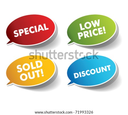 Promotional speech bubbles - stock vector