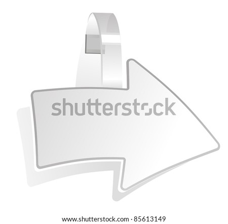 promotional wobbler as a symbol of the white arrow - stock vector