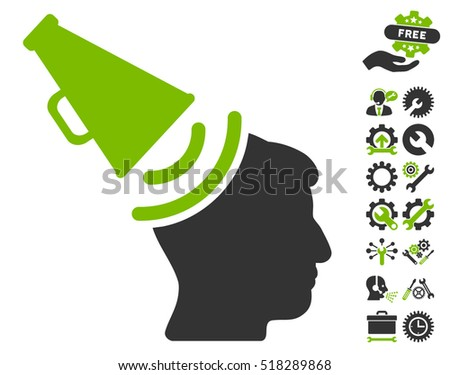 Propaganda Megaphone pictograph with bonus tools images. Vector illustration style is flat iconic eco green and gray symbols on white background.