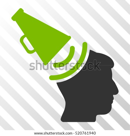 Propaganda Megaphone vector icon. Illustration style is flat iconic bicolor eco green and gray symbol on a hatched transparent background.