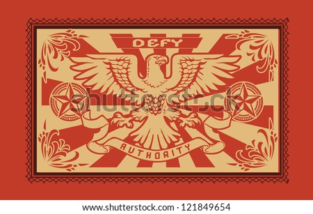 Propaganda Ornate Eagle Horizontal - stock vector