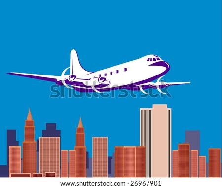 Propeller airplane with buildings in the background