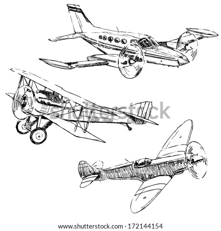 Propeller airplanes drawings on white background - stock vector