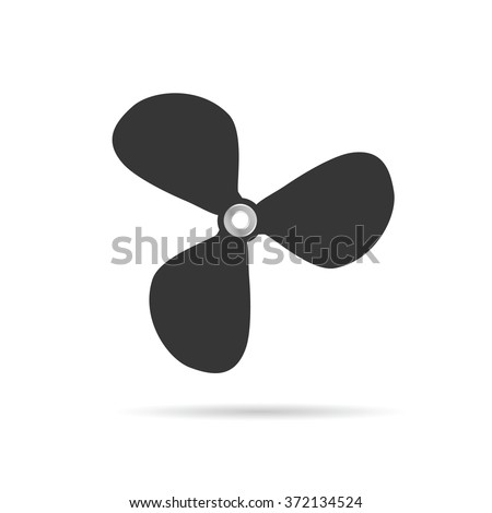 propeller rotate object illustration silhouette in grey - stock vector