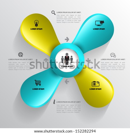 Propeller template with icons. / Can use for business concept / object for printing / web object - stock vector