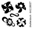 propellers and cogwheels. Vector one color icons - stock vector