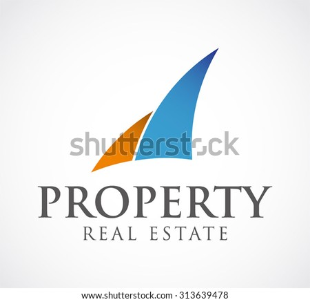 Property curve building real estate abstract vector logo design template apartment hotel business icon company identity symbol concept - stock vector