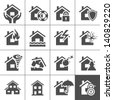 Property insurance icon set. Vector illustration. Simplus series - stock photo