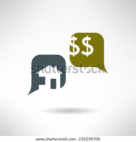Property selling dialog in modern flat design. Real estate payment simple icon. Vector illustration - stock vector