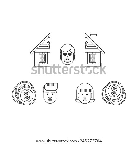 property separation - stock vector