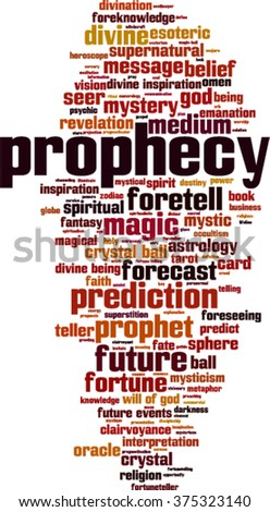Prophecy word cloud concept. Vector illustration