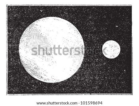 Proportions of the earth and moon, vintage engraved illustration. Dictionary of words and things - Larive and Fleury - 1895. - stock vector