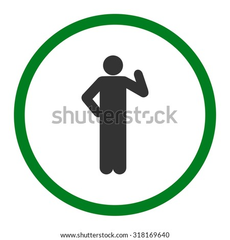 Proposal vector icon. This rounded flat symbol is drawn with green and gray colors on a white background.